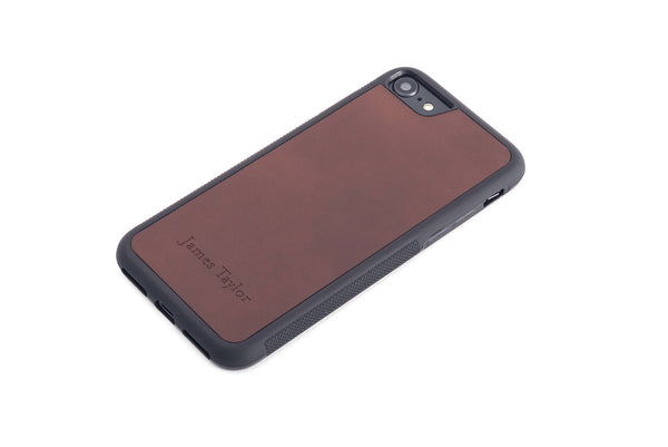 Dark brown personalized leather in a protective rubber case iPhone Case front