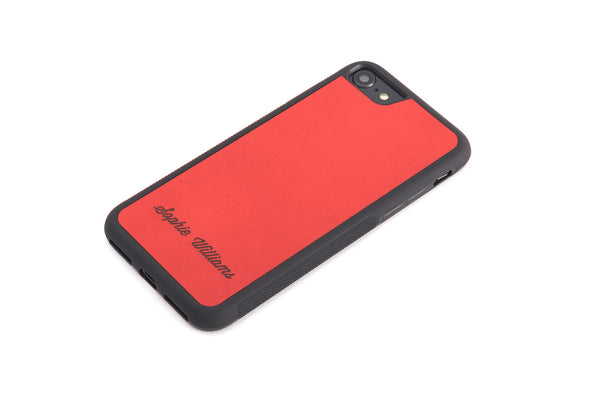 Red personalized leather in a protective rubber case iPhone Case front