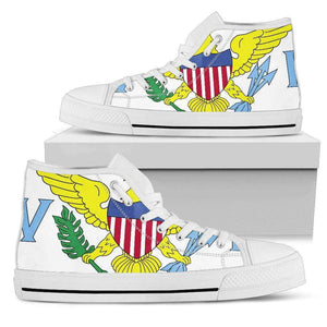 US Virgin Islands Women's High Top Shoe White Edition - Island Pride Prints