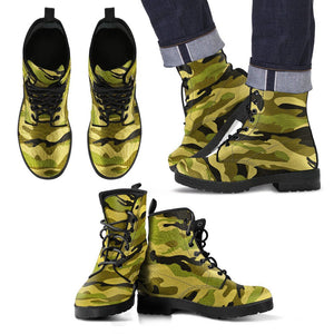 Green Camo Mens Boots Men's Leather Boots