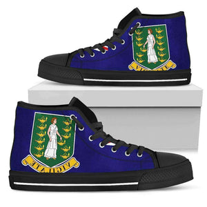 British Virgin Islands Men's High Top shoes Black Sole Edition - Island Pride Prints