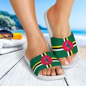 Dominica Flag White Slide Sandals