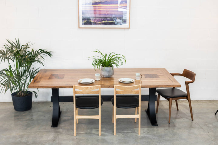 Curved Steel Leg Dining Table | Straight Board Recycled Stringy Bark