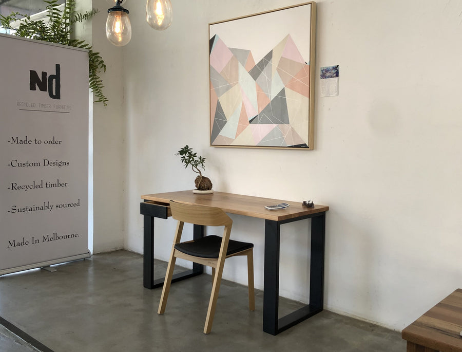 Recycled Stringy Bark Desk with Black Painted Timber Legs