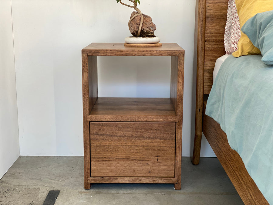 Bedside Cabinet 1 Push Open Drawer With Shelf | Recycled Stringy Bark