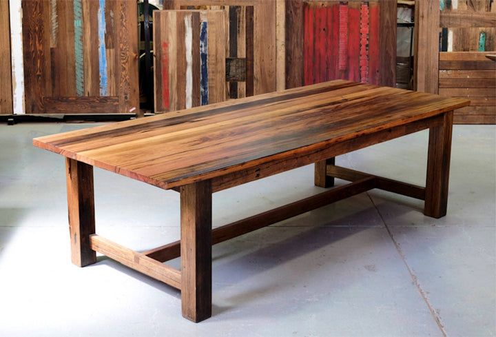 Refectory Style Dining Table | Recycled Hardwood With Rustic Dark Feature