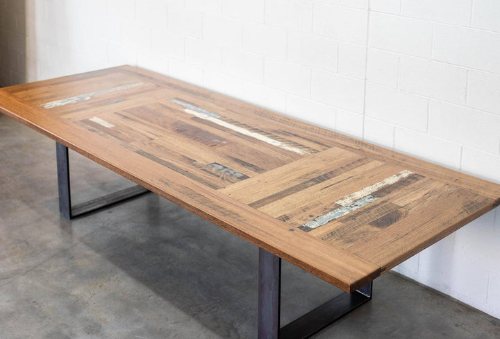 Triple Panel Dining Table | Vintage Inlay & Raw Steel Legs