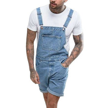 Load image into Gallery viewer, MJARTORIA 2019 Summer Plus Size Men's Jeans Ripped Denim Shorts Vintage Distressed Bib Overalls Male Casual Suspender Bottoms
