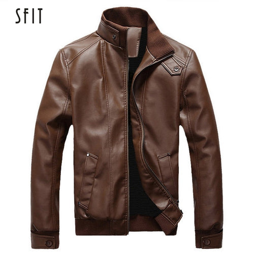 SFIT 2019 New Fashion Autumn Male Leather Jacket Plus Size 3XL Black Brown Mens Stand Collar Coats Leather Biker Jackets