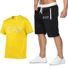 Load image into Gallery viewer, 2019 Train Graphic Series Print Fashion For Men New EA7 white Short Sleeve Men Tracksuits Set Male T-shirt fashion Clothing