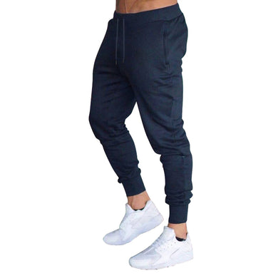 Men Slim Fit Solid Color Pants Trousers Drawstring Casual for Jogging Sport NGD88