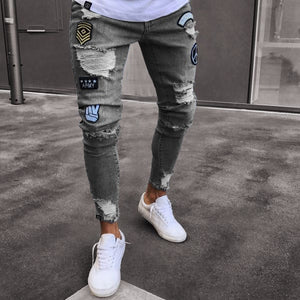 OLOME Men Stretchy Ripped Jeans Skinny Biker Embroidery Print Jeans Destroyed Hole Taped Slim Fit Denim Scratched Jean Popular
