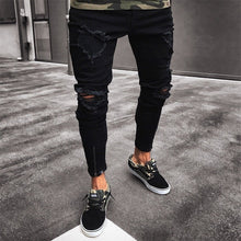 Load image into Gallery viewer, OLOME Men Stretchy Ripped Jeans Skinny Biker Embroidery Print Jeans Destroyed Hole Taped Slim Fit Denim Scratched Jean Popular