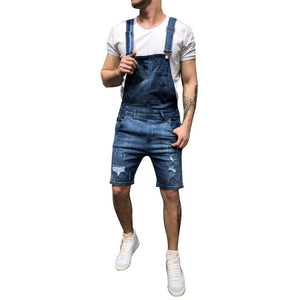 MJARTORIA 2019 Summer Plus Size Men's Jeans Ripped Denim Shorts Vintage Distressed Bib Overalls Male Casual Suspender Bottoms