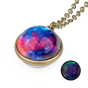 Nebula Galaxy Double Sided Pendant Necklace Glass Art Picture Handmade Statement Universe Planet Jewelry Necklace