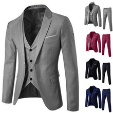 Load image into Gallery viewer, 2019 Men's Suit Slim 3-Piece Suit Blazer Business Wedding Party Jacket Vest & Pants Costume Homme Mariage #17.9