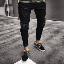 Load image into Gallery viewer, Mens Cool Designer Brand Black Jeans Skinny Ripped Destroyed Stretch Slim Fit Hop Hop Pants With Holes For Men F3
