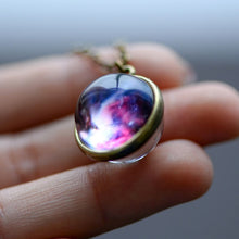 Load image into Gallery viewer, Nebula Galaxy Double Sided Pendant Necklace Glass Art Picture Handmade Statement Universe Planet Jewelry Necklace