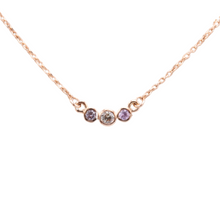 Load image into Gallery viewer, 3-stone sapphire bezel necklace