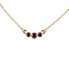 Load image into Gallery viewer, 3-stone garnet bezel necklace