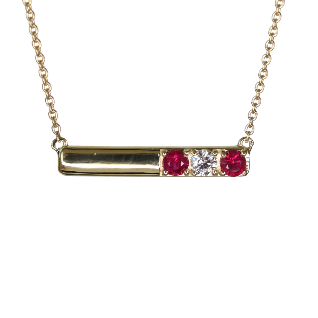 Diamond and ruby bar necklace