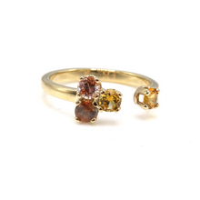 Load image into Gallery viewer, Montana sapphire cluster ring in warm colors