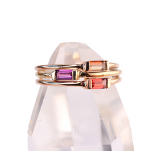 Load image into Gallery viewer, grape garnet baguette stacking ring