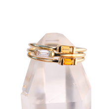 Load image into Gallery viewer, grossular garnet baguette stacking ring