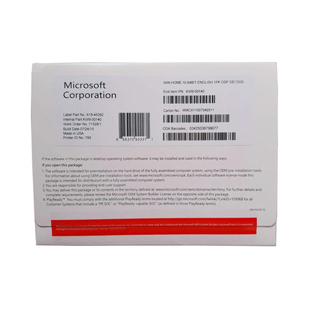 Microsoft Windows 10 Home 64-bit English (OEM)