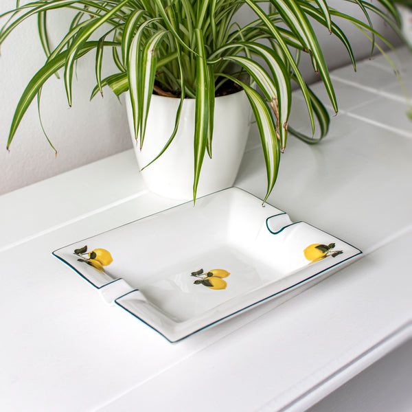 LARGE TRINKET TRAY / ASHTRAY - LEMON-CASACARTA
