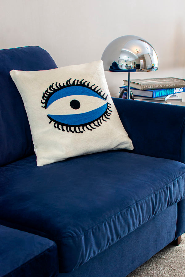 Embroidered Cushion - The Eye-Casacarta-CASACARTA