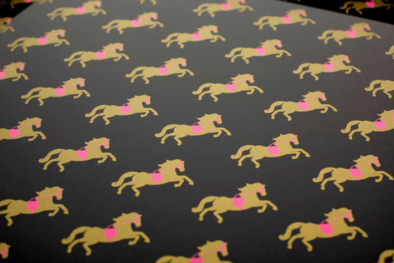 Large Tray - Pink & Gold Horse
