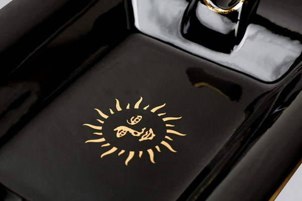 Large Trinket Tray / Ashtray - Black Sun