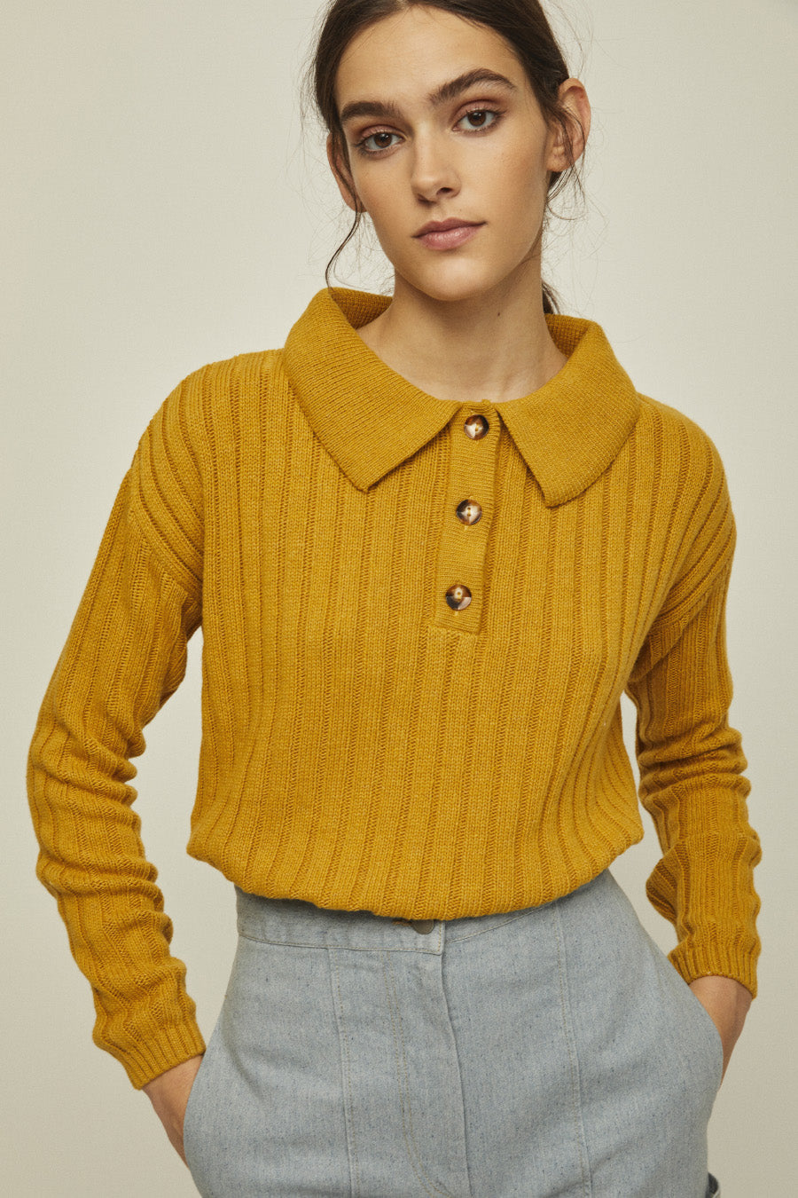 FRIDA - Knit Long Sleeve Polo