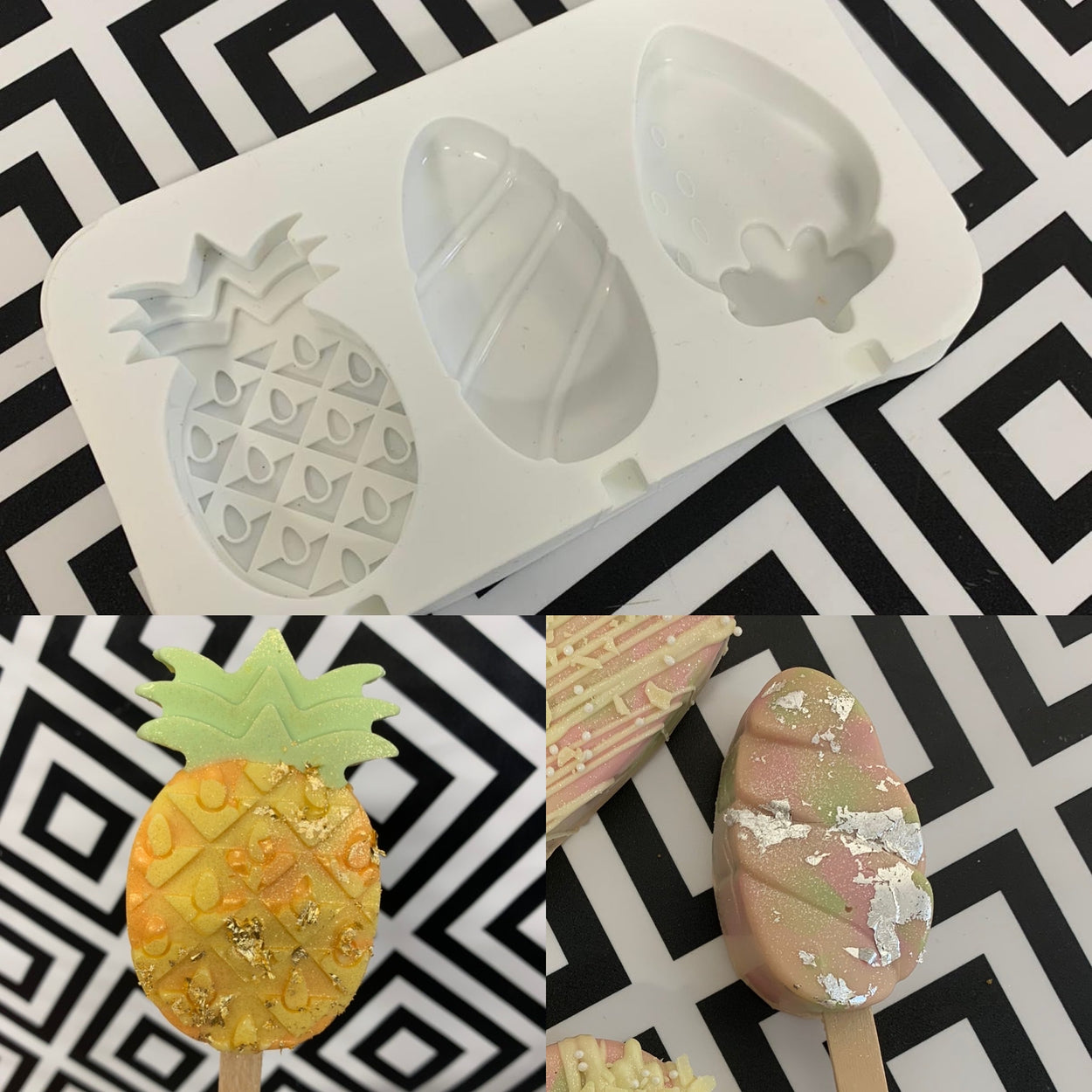3 Cavity Fruit Cakesicle Silicone Mould 🍍🍓