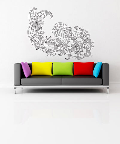 Vinyl Wall Decal Sticker Flower Wave #1008