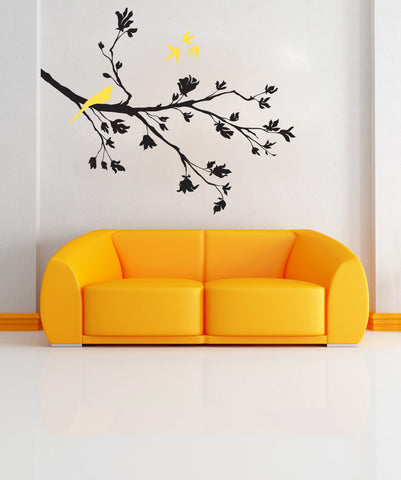 Springtime Flying Birds on Tree Branch Vinyl Wall Decal Sticker. #1010