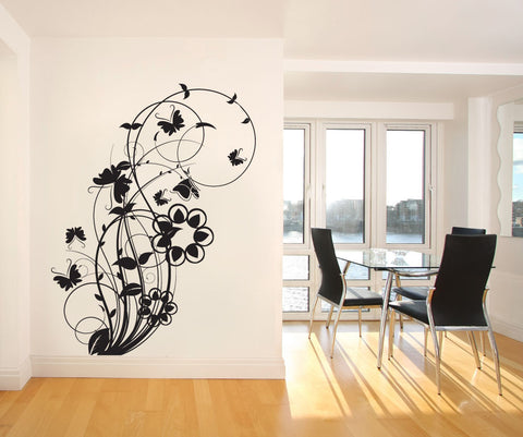 Vinyl Wall Decal Sticker Flower Butterfly Swirl #1011