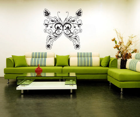 Vinyl Wall Decal Sticker Floral Design Butterfly #1012