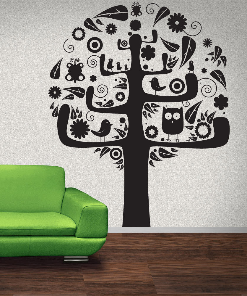 Vinyl Wall Decal Sticker Abstract Bird Tree #1024