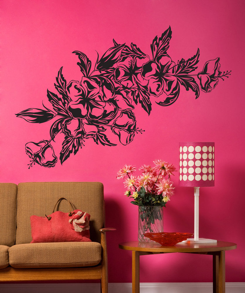 & Vinyl Wall Decal Sticker Hawaiian Flowers #1037