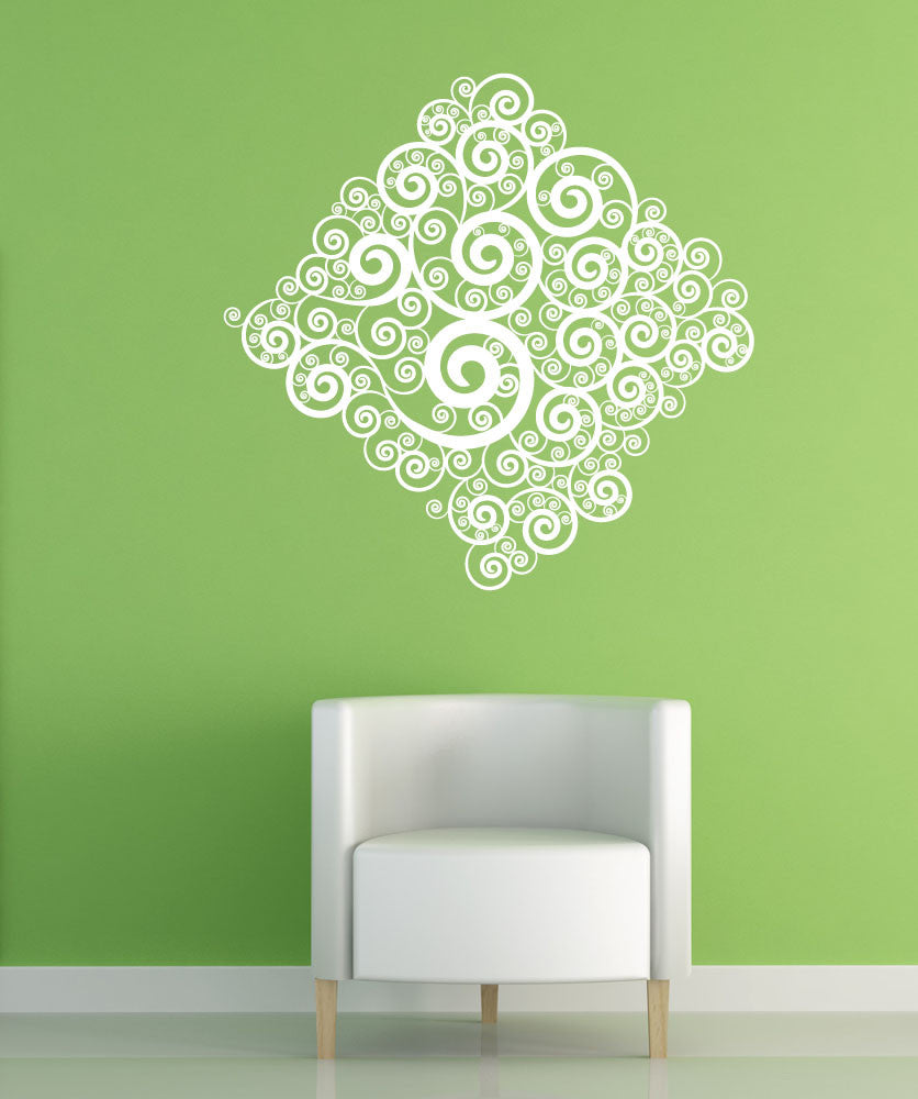 Vinyl Wall Decal Sticker Swirl Diamond #1042
