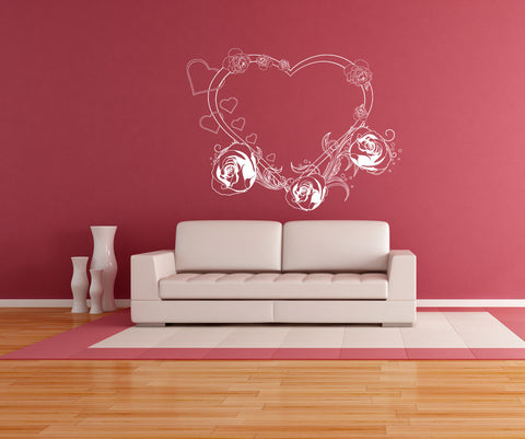 Vinyl Wall Decal Sticker Heart and Roses #1044