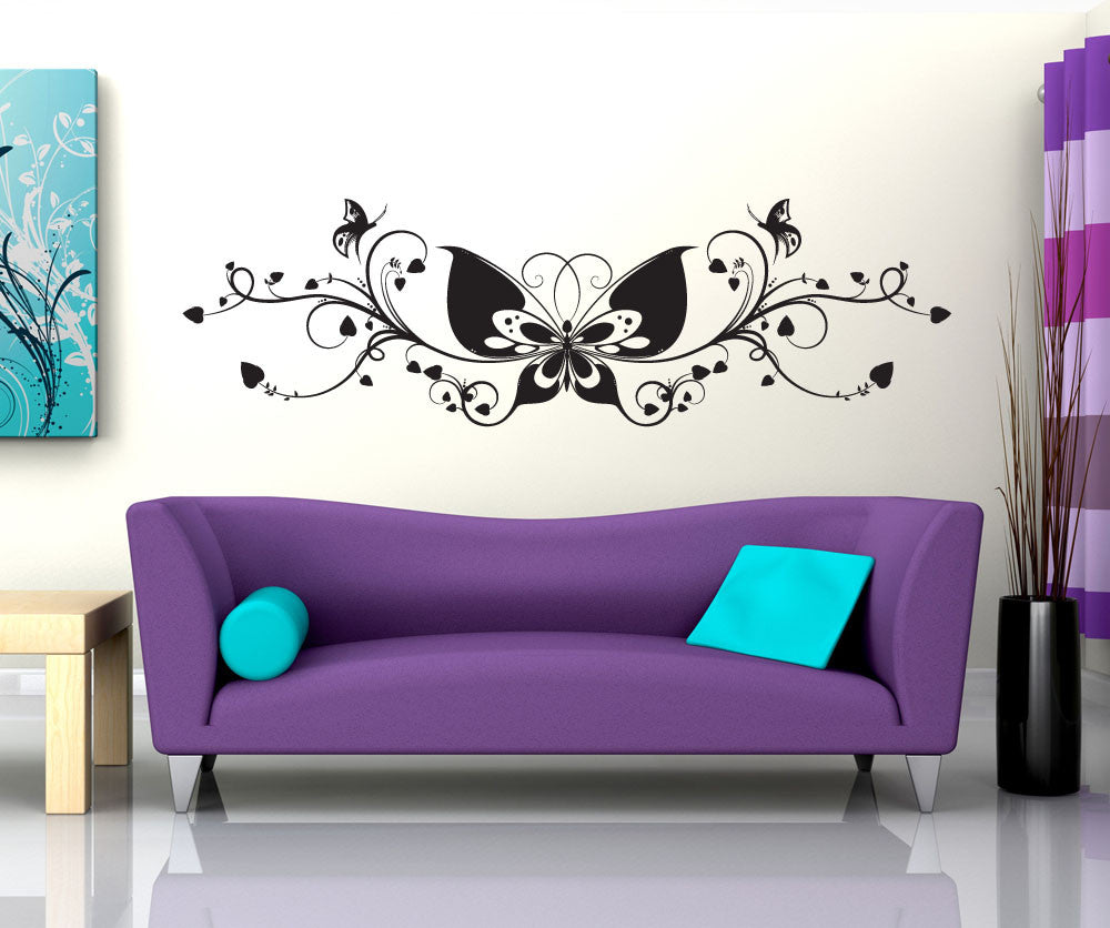 Vinyl Wall Decal Sticker Butterfly Vines 1050