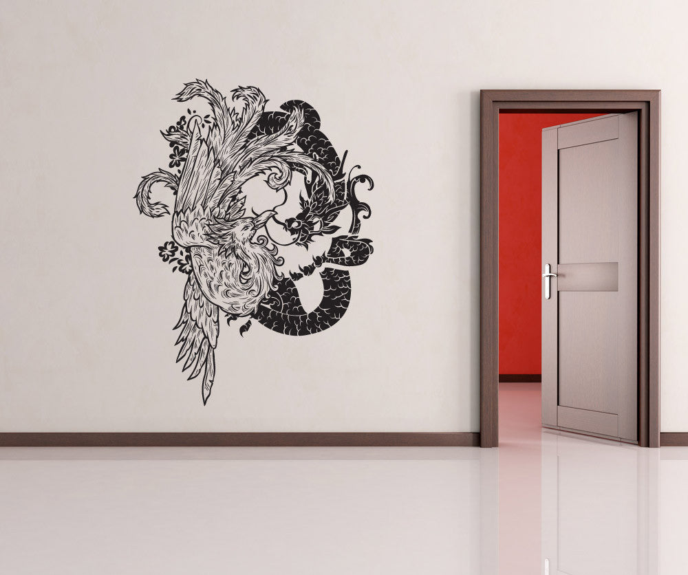 Vinyl Wall Decal Sticker Chinese Dragon And Bird - Custom vinyl wall decals dragon
