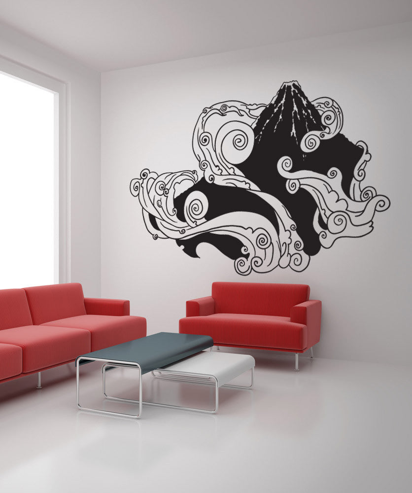 Vinyl Wall Decal Sticker Japanese Mountain - Japanese wall decals
