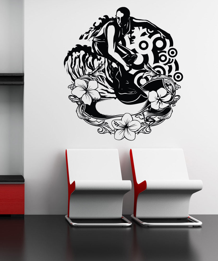 Vinyl Wall Decal Sticker Hawaiian Surfing #1062