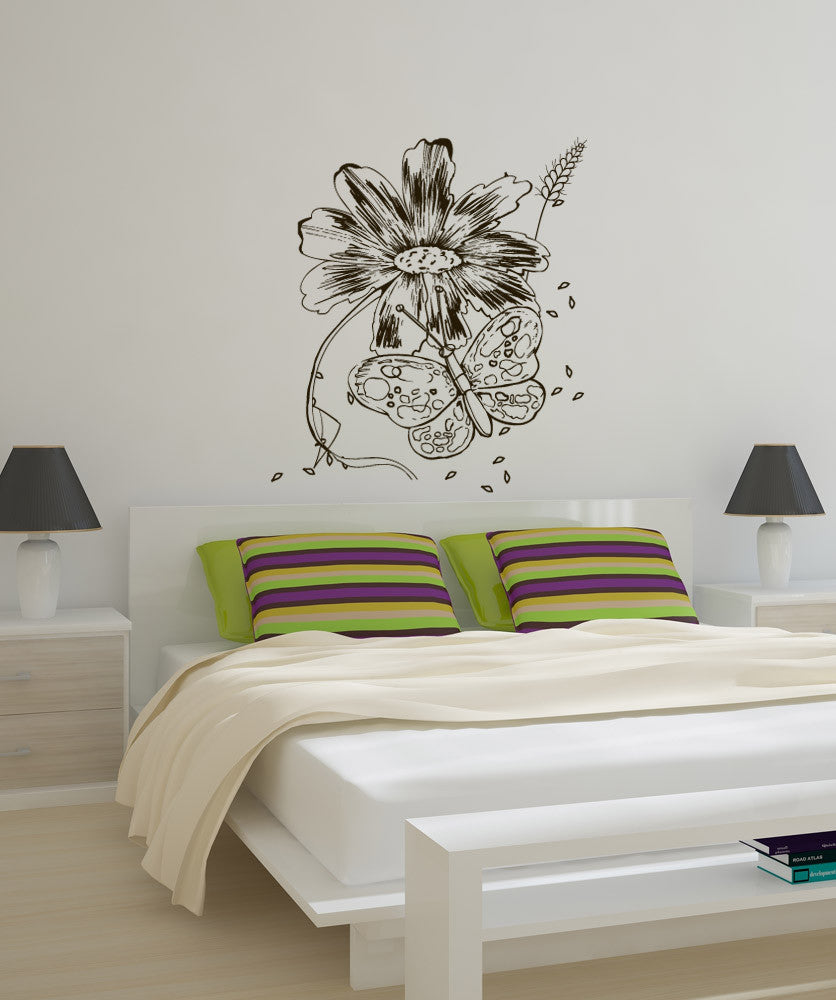 Vinyl Wall Decal Sticker Butterfly and Flower #1068