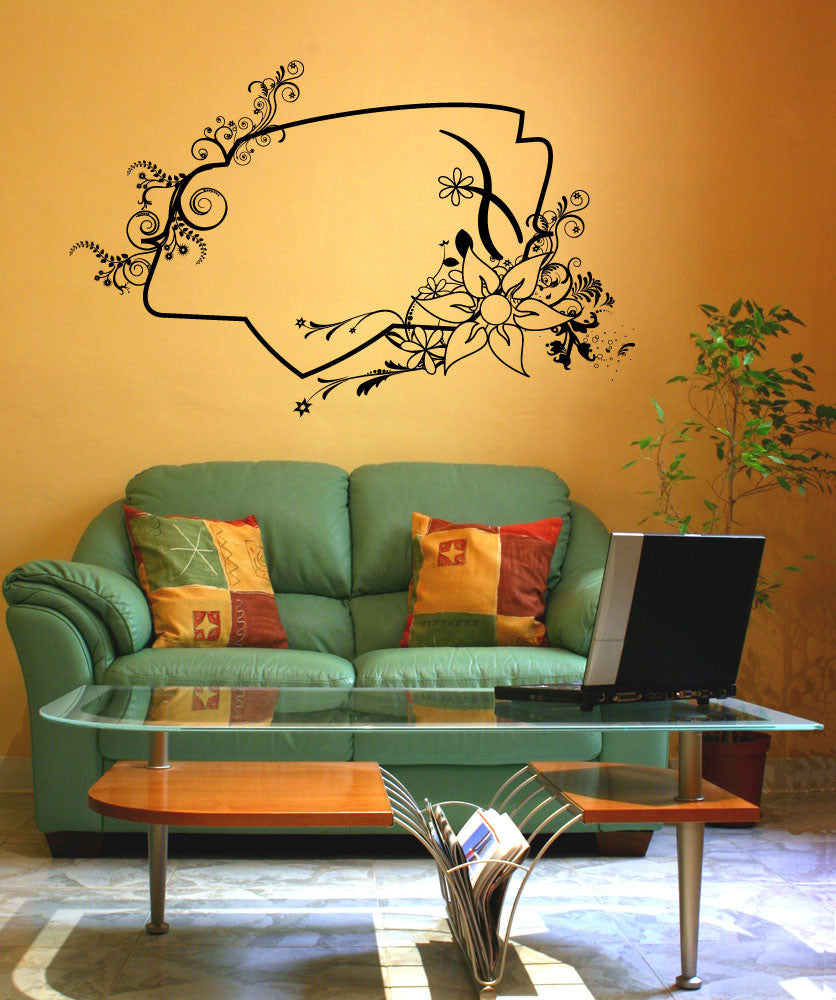 Vinyl Wall Decal Sticker Flower Frame #1078