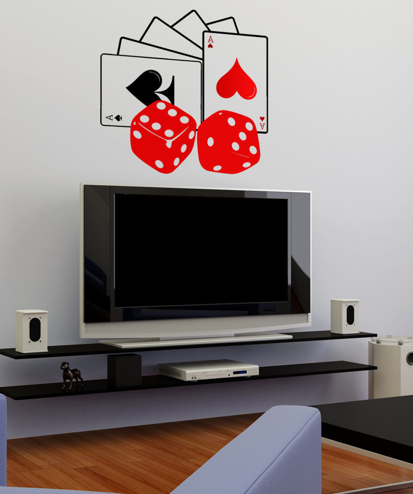 Vinyl Wall Decal Sticker Cards and Dice #1086